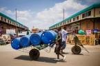 Wheelbarrow man, City market, Lusaka, Zambia